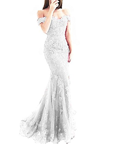 YSMei Lace Mermaid Tulle Prom Dresses Off Shoulder Long Wedding Party Gown with Train Silver 14