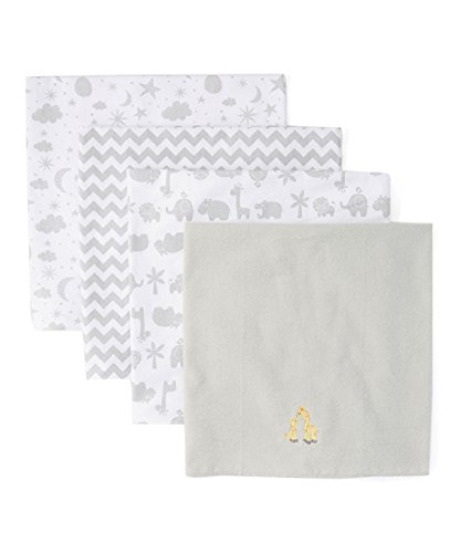Spasilk Baby 4 Pack 100% Cotton Flannel Receiving Blanket, Grey Giraffe, One Size ()