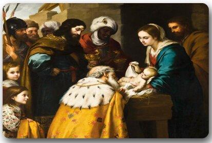 Christmas Nativity Holy Family, Tree--Three Wisemen Christmas Machine Clean Top Fabric & Non-Slip Rubber Backing Durable Indoor / Outdoor Doormat Door Mats by Doormats