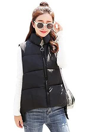 BOZEVON Women Winter Gilet - Women's Down Gilet Coat Vest Sleeveless Puffer Jacket,Black,US 2XL=Tag 3XL