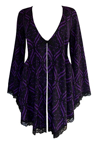 Dare To Wear Victorian Gothic Boho Women's Plus Size Embrace Corset Sweater Purple Tarot 3X