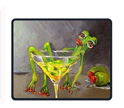 Drunk Frog Printed Mousepad Non Slip Rubber Mice Mat Gaming Mouse Pad 9.8 × 11.8