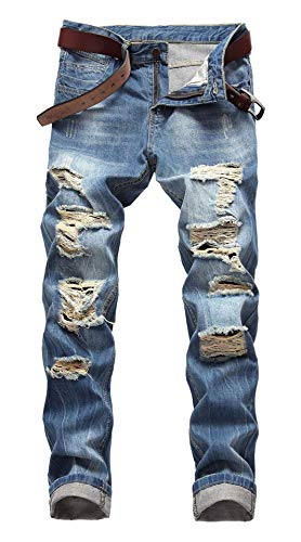 FEESON Men's Regular Straight Leg Casual Loose Fit Ripped Washed Denim Jeans Blue