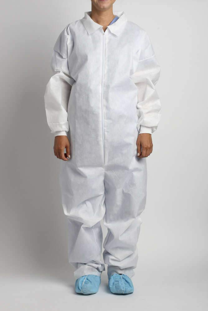 MediChoice Coveralls, Standard, Disposable, Full Front Zip, Knit Cuff, Open Collar and Ankles, Polypropylene, XXL, White (Case of 24)