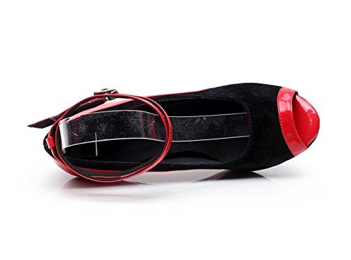 Damen Ankle Minitoo QJ9001 Strap Suede moderne Salsa Tango Ballroom Latein Tanzschuhe für Partys am Abend Rot