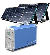 Tragbares Kraftwerk 2400wh / 1000W Solargenerator mit 2 Stück PowerOak Faltbares 120W Solarpanel,...