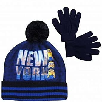 CHILDRENS MINION BOBBLE HAT AND GLOVES SET
