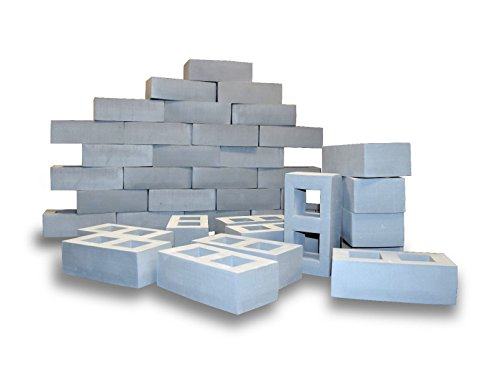Building Blocks for Kids, Jumbo Size (Not Life Size) Extra-Thick Cinder Block, Builders Set for Construction and Stacking by Playlearn (40 Pack) -