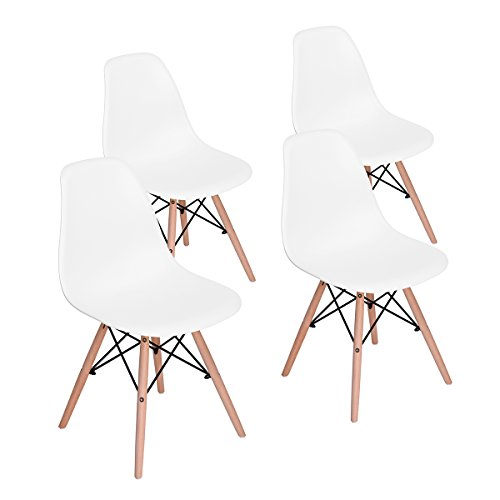 HOMY CASA Mid Century Modern Style Eames Seat Height Natural Wood Legs Armless Chairs for for Kitchen, Dining, Bedroom, Living Room White Color, Set of 4,