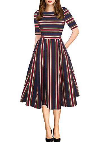 Vintage Fashion Womens Dresses Gowns - oxiuly Women's Vintage Elegant Stripe Half Sleeve with Pockets Swing Fall Dress Puffy Swing Casual Party Cocktail Dress OX165 (S, Blue Stripe)