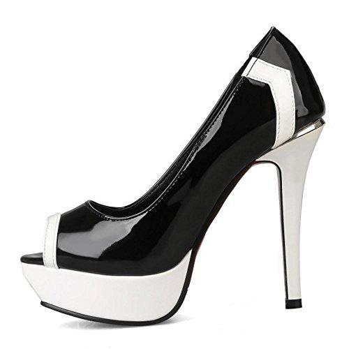 Slip Peep Stiletto Elegant Shoes Toe TAOFFEN Women Party Heel Black On High Pumps YqRZx8w