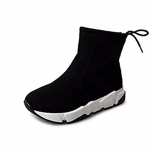 de Negro mujer para plano Zapatos ZHUDJ de Amarillo Bowknot Casual otoño tacón Punta Para la Botas para Negro Botas nieve redonda vIBIqHwxE