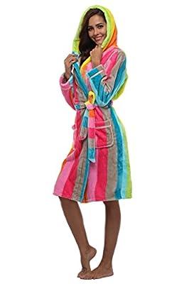 Feelia Women's Flannel Robe Long Plush Robe Warm Hooded Bathrobe With Striped Print
