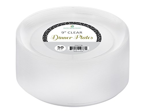Elite selection 9 Inch Dinner Disposable Clear Hard Plastic Party Plates 50 Count