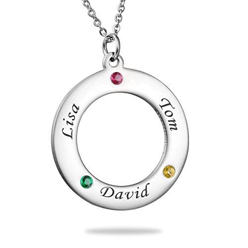 HooAMI Personalized Birthstone Necklace Pendant