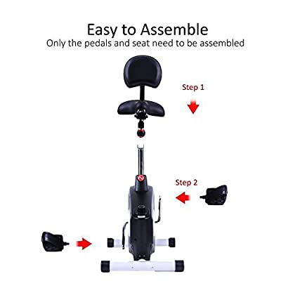SereneLife Exercise Bike - Stationary Bicycle Pedal Cycling Trainer Fitness Machine Equipment for Under Desk Workout, Weight Loss, Fitness & Health at Home & Office(SLXB8)
