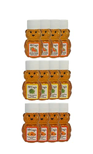 Raw Honey - Pure All Natural Unfiltered & Unpasteurized - McCoy's Honey 2oz Variety 12 Pack