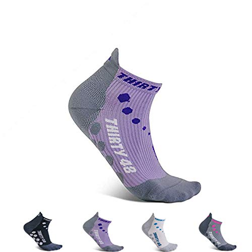 Thirty 48 Compression Low-Cut Running Socks for Men and Women (Small - Women 5-6.5 // Men 6-7.5, [1 Pair] Purple/Gray) by Thirty 48 (Image #8)