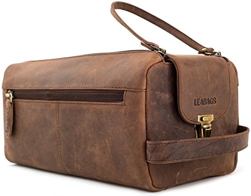 LEABAGS Palm Bay genuine buffalo leather toiletry bag in vintage style - Muskat
