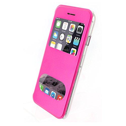 Flip-Case APPLE IPHONE 6 4.7 POUCES  [Le Clap Touch Premium] [Bonbonrosa] von MUZZANO + 3 Display-Schutzfolien UltraClear + STIFT und MICROFASERTUCH MUZZANO® GRATIS - Das ULTIMATIVE, ELEGANTE UND LANG