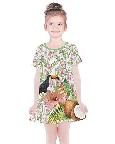 PattyCandy Girls Green Jungle Coconuts Comfy Summer Cotton Dress - 7