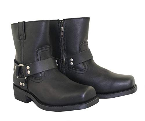 Xelement 2502 Women's Black Zipper Harness Motorcycle Boots - 8