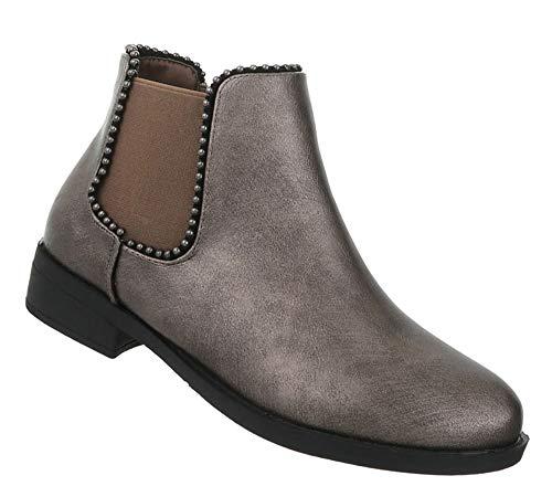 Optik Bronze Stiefel Ankle Damen Leder Blockabsatz Flache 36 Schuhe 41 Boots Booties Kurze Stiefeletten wOzqz4T