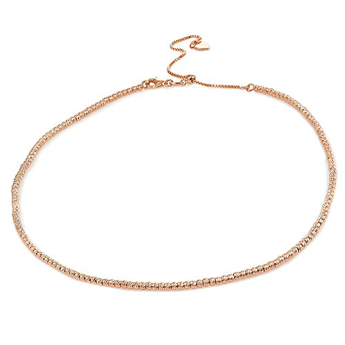 - Rose Gold Flashed Sterling Silver Diamond-Cut Beads Adjustable Italian Chain Choker Necklace