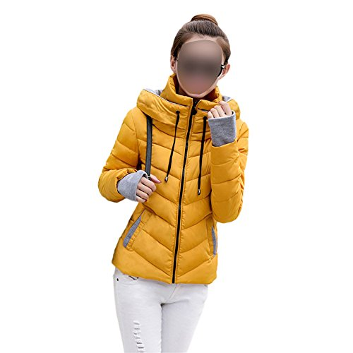 Stand Casual Hzjundasi Puffer Women Down Lightweight Packable Outwear Coats Dark yellow Jackets Collar HIHrOxw