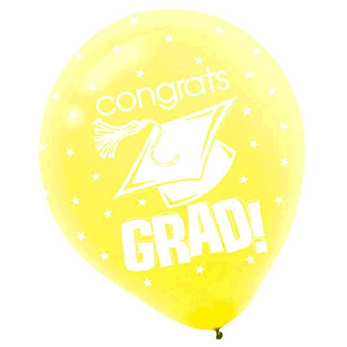 "Congrats Grad Graduation Party Balloon Decoration, Yellow, Latex , 12"" Pack of 15"