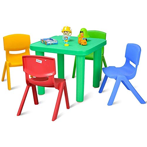 Costzon Kids Plastic Table and Chair Set, Chair Learn and Play Activity Set, School Home Furniture (Table & 4 Chairs)