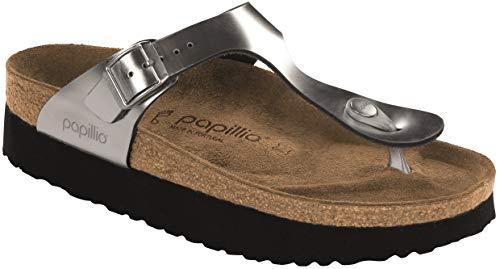 Birkenstock Papillio Women's Gizeh Platform Sandal, Silver Leather, 38 M EU