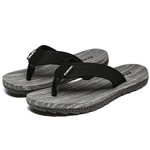 la 45 Tiras para 8 UK PVC Negro Hombre para con 5 Gris de clásico hasta Hongjunshoes diseño Sandalias el Talla Ocio 7w116f