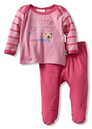 ABSORBA Baby-Girls Newborn Footed Pant Set, Pink, 3-6 Months