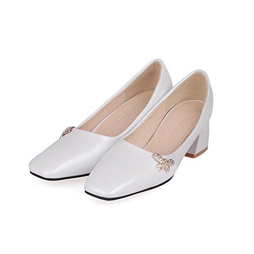 Allhqfashion Dames Pull-on Pu Gesloten-teen Kitten-hakken Stevige Pumps-schoenen Wit