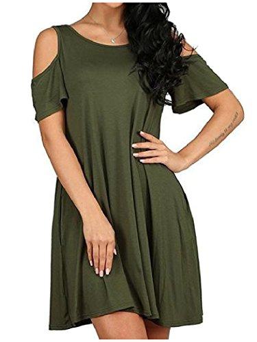 Grand Ourlet De Taille Plus Solide Épaule Femmes Coolred Mini Robe Casual Vert Noirâtre