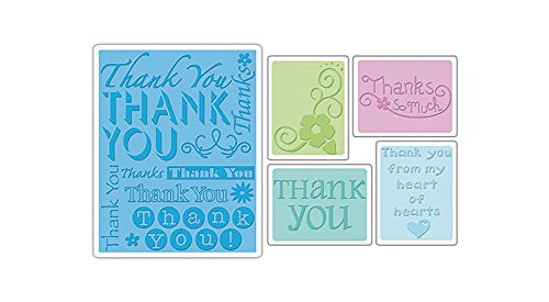 A2 Card Embossing Folder (Sizzix Textured Impressions Embossing Folders 5/Pkg, Thank You #2)