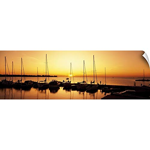 (CANVAS ON DEMAND Silhouette of Boats in The sea, Egg Harbor, Door County, Wisconsin Wall Peel Art Print, 48