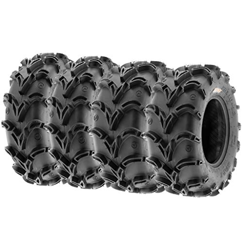 Set of 4 SunF A050 28x10-12 Front & 28x12-12 Rear Deep Mud + Trail ATV UTV Off-Road Tires, 6PR, Tubeless