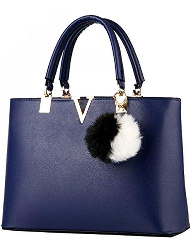 tracolla nuove a Diamante PU Cachi Leather signore borsa Menschwear Blu Bag lucida Tote qwzx4X6