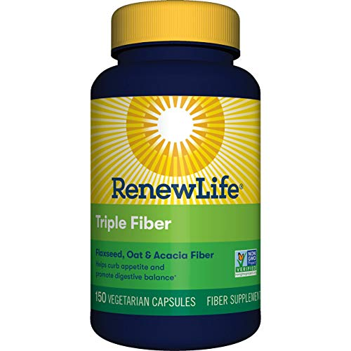 Renew Life Adult Fiber Supplement - Triple Fiber, Dietary Fiber - 150 Vegetable Capsules (Packaging May Vary) ()