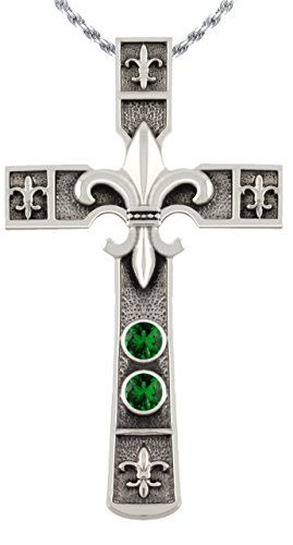 US Jewels And Gems 2 3/16in 0.925 Sterling Silver Simulated Imitation Emerald Fleur De Lis Cross Pendant Necklace