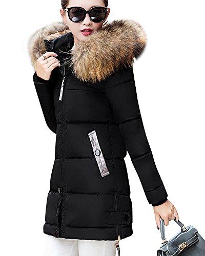 Mujer Largo Invierno Elegantes Con Negro Abrigo Bolsillo Abajo Chaqueta Plumas De Abrigos De 4BxrtxE