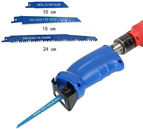 Reciprocating Saw Adapter Electric Drill Accumulator Saw with 3 Saw Blades Set