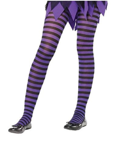 Girls Purple Glitter Witch Tights (Purple Black Striped Child Tights Halloween Pantyhose Girls Size 7-10 Witch)