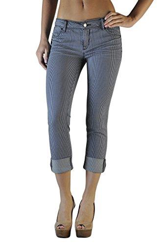 (Standards & Practices Women's Road Stripe Stretch Denim Skinny Boyfriend Jeans, 1525dirtrd, 28 x)