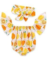 Summer Floral Baby Romper Newborn Infant Baby Girls Ruffles Sleeve Cotton Bodysuit Onepiece