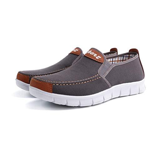 Mocasines Alpargatas Hombres Zapatillas de Casual para de Gris sólido Lona Plano Zapatos a7vqn