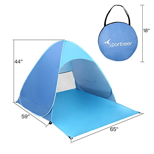 Sportneer Protable Pop Up Beach Tent Sun Shelter Sun Shade Cabana with Carry Case u0026 Stakes Blue  sc 1 st  Hiking Gear Store & Protable Pop Up Beach Tent Sun Shelter Sun Shade Cabana with Carry ...