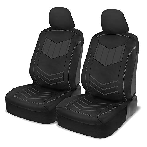 (Motor Trend MTSC304 Gray ComfortPlush PU Leather All Protection Sideless Seat Covers for Car Auto (Sedan Truck SUV Minivan) - Front 2pc)